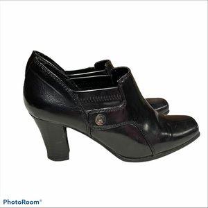 Etienne Aigner black slip on chunky heeled booties